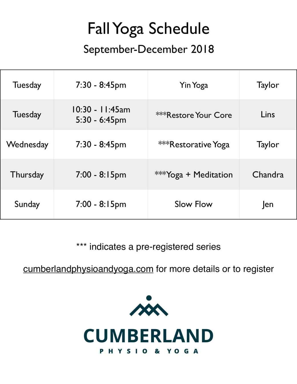 Fall schedule 2018-1