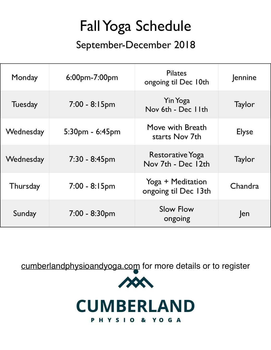 late Fall schedule 2018-1