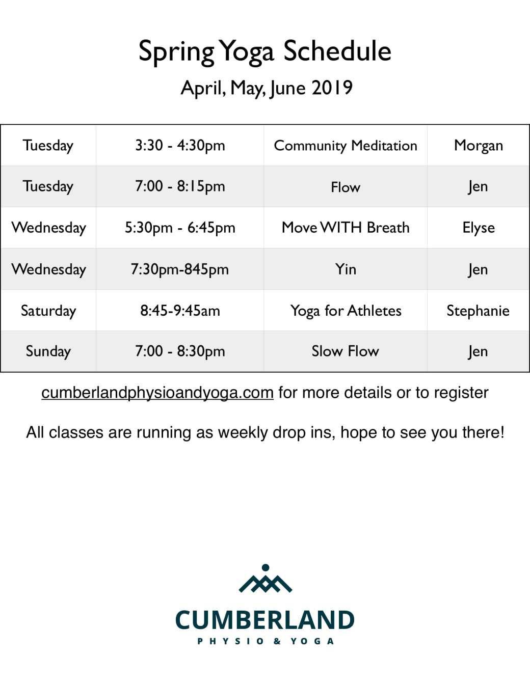 Spring schedule 2019-1 2